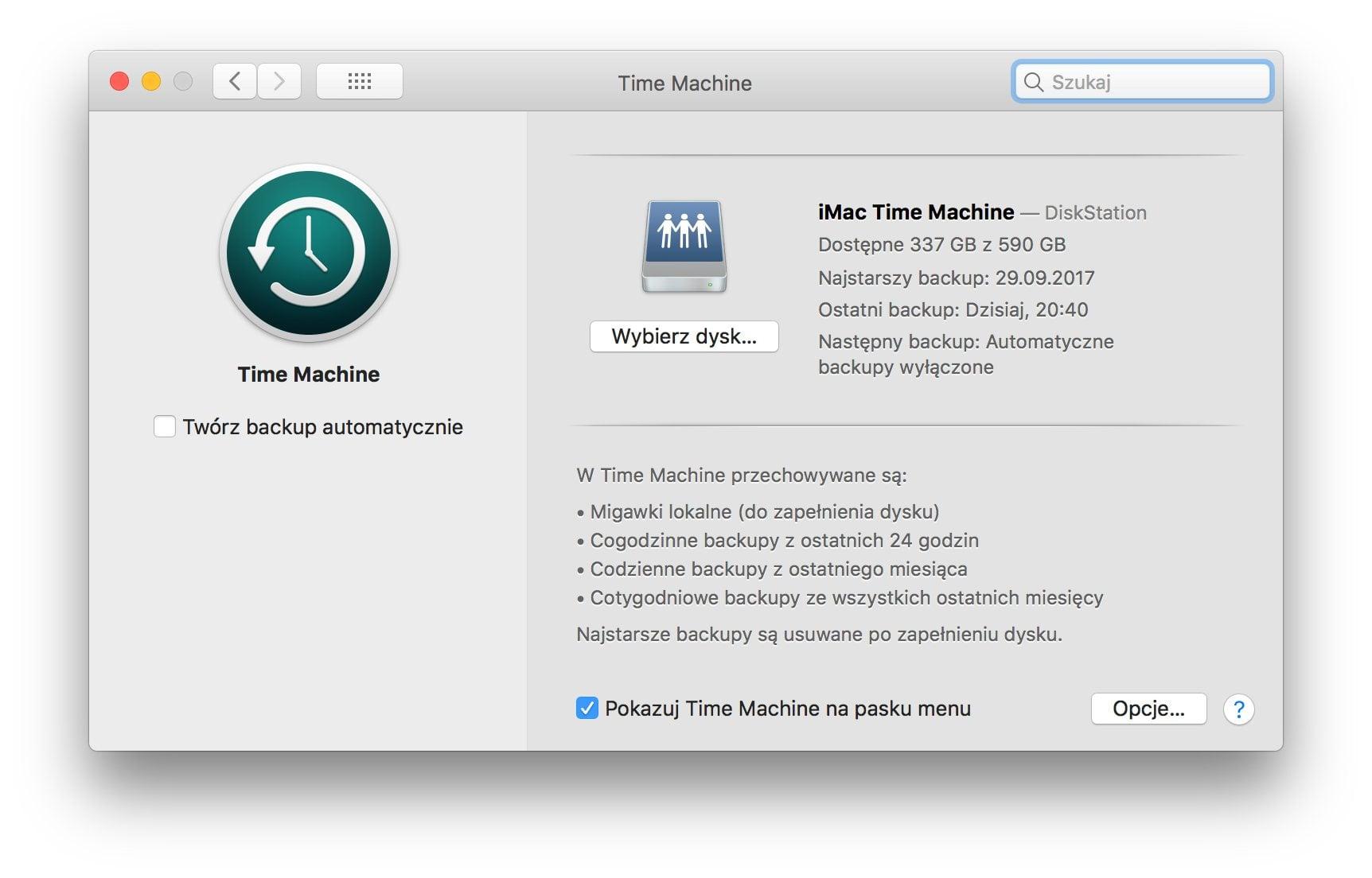 Time Machine ustawienia macOS